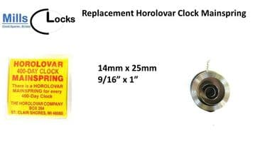 Horolovar Clock Mainspring, 400 day, (Size:14mm x 25mm)